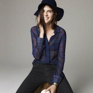 Madewell silk bromley blouse in dark plaid